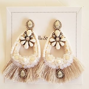 Stella & Dot White Fringe Earrings